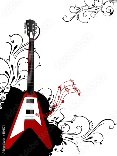guitar with floral design
