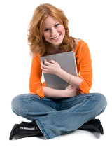 Teenager with a computer