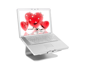 Laptop with 3d hearts
