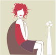 femme décoiffée dans fauteuil boule