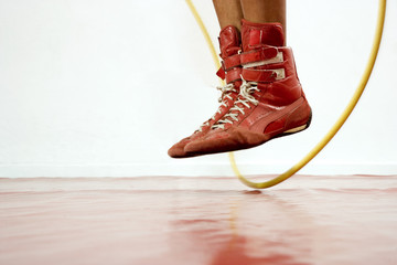Close up of boxer's feet skipping