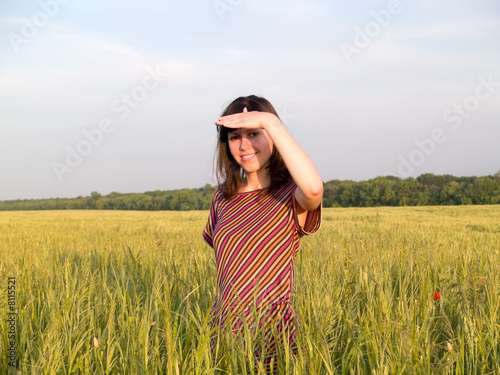 Beautiful Teen Lady Looks in Field