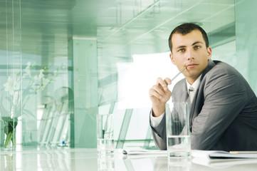 A businessman in a boardroom