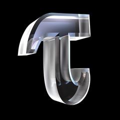 tau symbol in glass (3d)