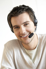 Young man wearing a headset