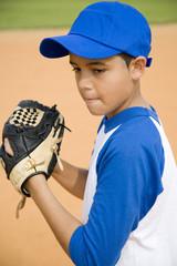 Boy preparing to throw baseball
