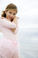 A young girl on a beach