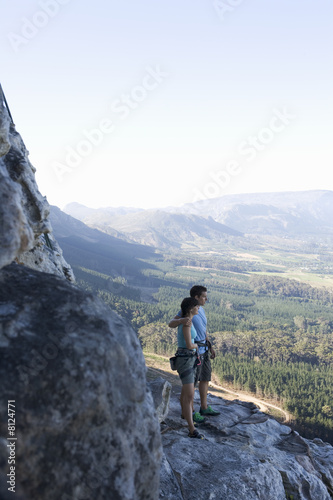 Two climbers looking at the view