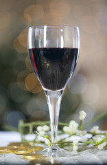 A glass of red wine and mistletoe
