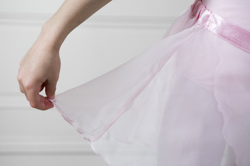 Close up of a girl in a ballet tutu