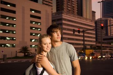 A young couple on a city break