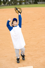 Young boy taking catch in baseball