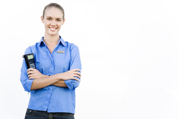 Portrait of a supermarket assistant stock taking scanner.
