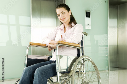 A woman sitting in a wheelchair