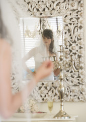 A bride getting ready for her wedding
