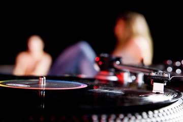 close up of record deck at a party