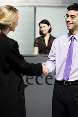 Businesswoman being greeted at office reception