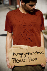 Young homeless man