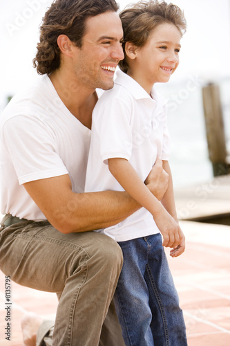 portrait of father and son outdoor