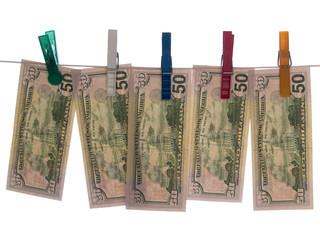 Dollars on Clothesline