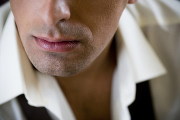 Close up of a young man's mouth and lips