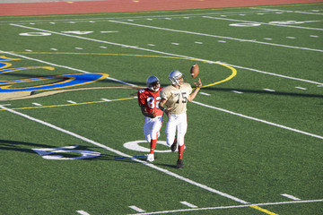 American football player chasing opposing receiver about to catch ball during competitive game
