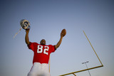 American football player, in red football strip, celebrating victory on pitch at sunset, arms up, holding ball and protective helmet in front of goal post, low angle view (tilt)