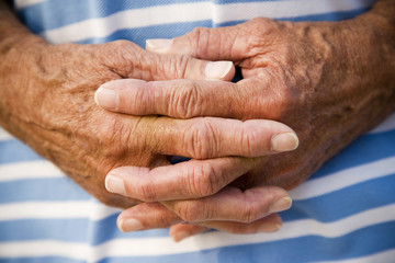 close up of a senior man's hands