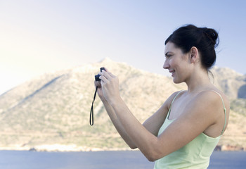 A woman taking a photo