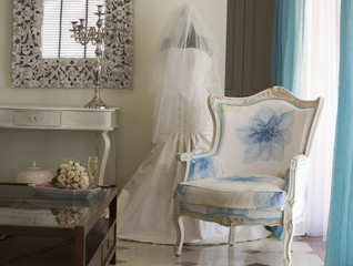 A wedding dress in a room