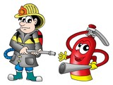 fireman and fire extinguisher