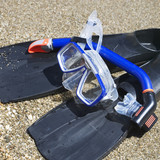 Close up of a snorkel mask and tube