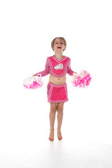 cheerleader little girl in pink with pointed toes