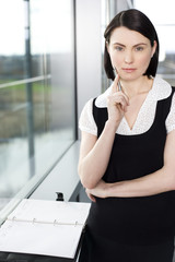 Businesswoman or secretary standing beside window with an appointments diary