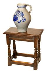 Grey Ceramic jug  on stool