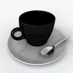 Una tazzina da caffè nera e bianca