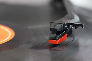 Close up of a record players needle