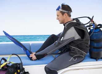 A man about to go scuba diver