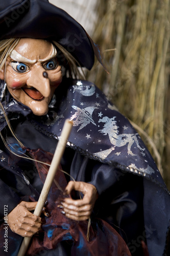 Hallowe'en decorations - puppet witch with wand