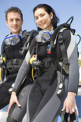 A couple scuba diving
