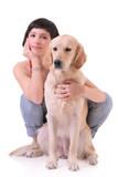 A girl and her dog (Labrador retriever) poster