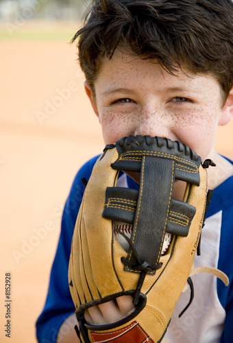 Portrait boy with catcher's mitt