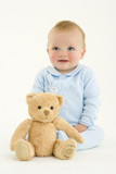 Baby boy (3-6 months) by teddy bear
