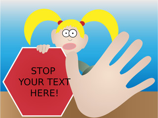 Girl with exaggerated hand gesture warning of risk - vector