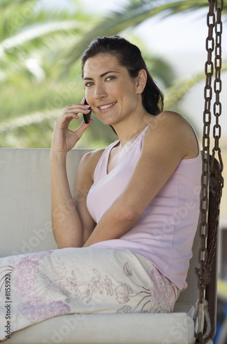 A woman chatting on a mobile phone