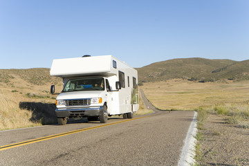 Motor home on road, low angle view