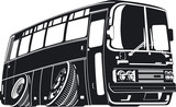 Vector cartoon tourist bus silhouette