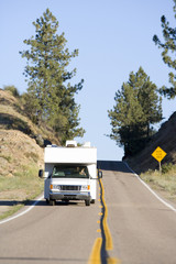 Motor home on open road