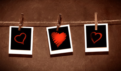 Photo paper attach to rope with clothes spins / Valentine theme