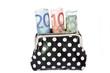 Geldbeutel mit gerollten Euroscheinen